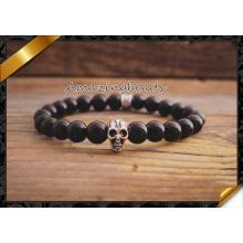 Venta al por mayor cráneo de plata rebordea suave redondo pulseras de joyería de ágata (CB031)