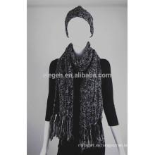 Chicas Invierno / Otoño fábrica de China Sombreros de punto de acrílico y conjuntos de bufandas con franja