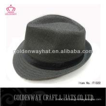 Papier en paille Fedora Sun Hat noir usine de chapeaux professionnels à vendre