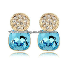 Emerald Price Per Carat 24K Gold Plated Round blue Crystal Stud Earrrings Wholesale 2013012638