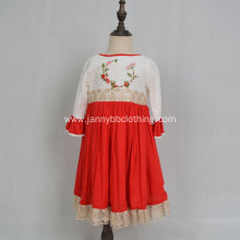 High quality half-sleeve gold lace hand embroidery dress