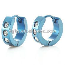 Stunning Blazing Blue Stainless Steel CZ Mens Hoop Earrings