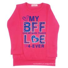 T-shirt da menina das crianças da mola para a roupa dos miúdos