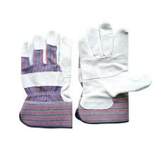 Kuh Split Patched Palm Streifen Baumwolle zurück Handschuh (3059)