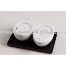 Set sel et poivre en porcelaine blanche avec plateau JX-SP517