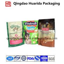Alimento para perro / animal doméstico que se coloca encima de la bolsa de plástico con el fabricante de la cadena