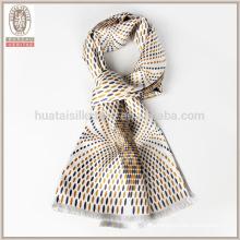 Bufanda de seda de los hombres de la capa doble del punto de polca de la fringe del uno mismo