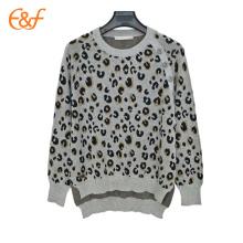 Suéter de leopardo de tigre de punto de mujer con dobladillo partido