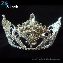 Coroas de desfiles redondos de beleza de cristal cheio lindo, coroas nupciais redondas completas personalizadas para rainha