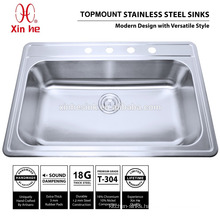 33x22 inch Drop-in cUPC Single Bowl Stainless Steel Top Mount Kitchen Sink with 4 Four Holes