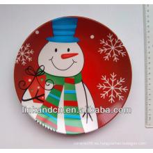 2014 mejor placa cerámica de la exhibición de la calidad, placas laterales de la cena de cerámica del muñeco de nieve