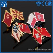 bandera de la amistad del país de la solapa boton