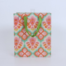 custom gift packaging shopping bag with ribbon handle