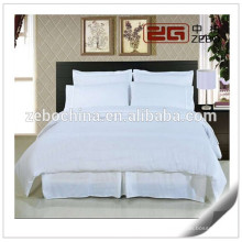 100% Cotton White Jacquard Fabric Customized Size Hotel Bedding Sets Full