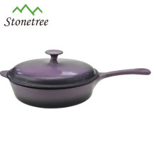 Cast iron enamel frying pot with lid/cast iron enamel frying pan with lid/ fry pan