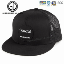 Fashion New Simple High Quality Black Snapback Hat with Woven Badge Embroidery