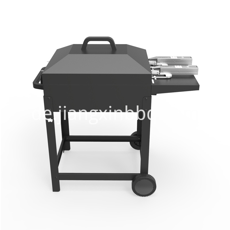 Trolley Charcoal Bbq With Side Shelf With Auto Skewer Close View