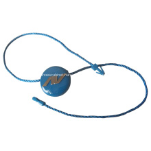 Blue round plastic tag with black bead