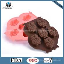 Herramienta de la galleta del molde del chocolate del hielo del silicón del búho de Cutie FDA Aprobó Si08