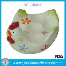 White Glazed Chicken Shape Ceramic Egg Holder