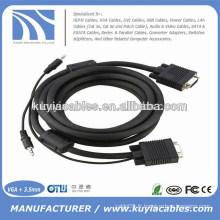 Prix d'usine Nickelé 15PIN 3 + 6 Câble VGA à VGA avec 3,5mm Audio pour PC TV