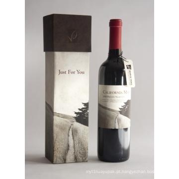 Presente de luxo Embalagem Papel Caixa de garrafa de vinho