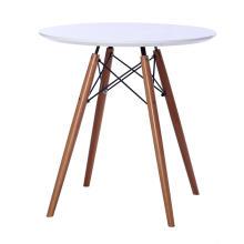 Mesa de jantar redonda de MDF com base de madeira
