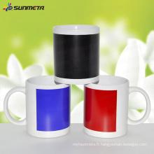 11oz Sublimation Tasse blanche avec changement de couleur Patch Temperature Sensitive Print Coating
