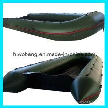 0,9 mm PVC Armee grüne aufblasbare offenen Rettungsboot