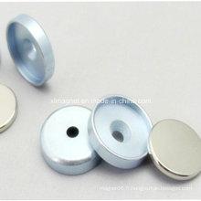 Aimant en nickel en néodyme en plaque de métal en zinc avec garniture