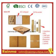Eco Briefpapier mit A5 Notizblock und Aktenhalter
