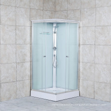 Simple Shower Cabin White Paint Clear Glass Shower Room