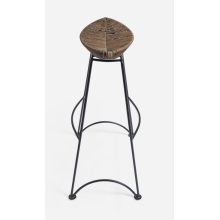 Modern rattan seat with iron base footrest barstool