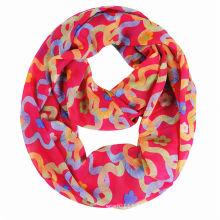 100% полиэстер 75Д шифон печать женщины бесконечности шарф (YKY1117)
