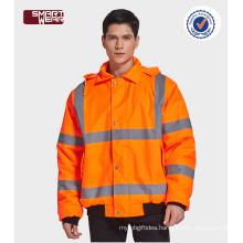 High quality workwear winter safety reflective orange jacket with reflective tape