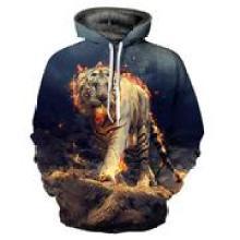 Angry tiger 3D printing hoodie