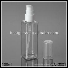 100мл пластиковые бутылки, прозрачные пластиковые бутылки, квадратная пластичная бутылка с насосом