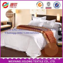 Tejido de rayas blancas satén T / C 65/35 para juegos de cama de hotel
