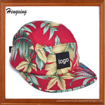 Floral flachen Rand gewebt Label 5 Panel Caps