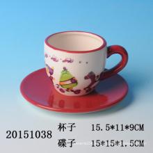 Alta calidad handpainting cerámica taza de café de Navidad y platillo