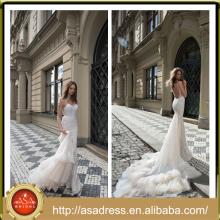 FBB-07 Bling Bling Querido vestido de noiva de pescoço com cinto de espaguete Dramatic Ruffle Train Alibaba Express Vestido De Fiesta