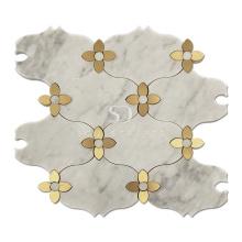 Soulscrafts White Carrara Marble Gold Brass Flower Pattern Waterjet Mosaic Tile