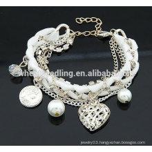 2014 Fashion Alloy Multilayers Bracelet Heart Shape Bracelets Pearl bracelet jewelry