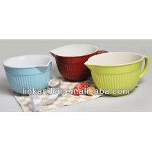 KC-04017large solid bowl with handle/porcelain bowl/rice bowl