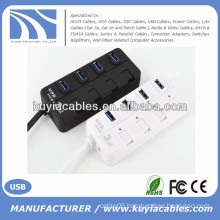 Mini 4 port USB3.0 Hub Support 5 Gb/s Single on/off Compatible with USB3.0/USB2.0/1.1