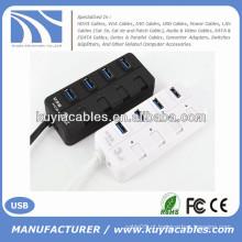 Mini 4 portas USB3.0 Hub Suporte 5 Gb / s Simples ligado / desligado Compatível com USB3.0 / USB2.0 / 1.1