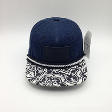 Denim Thread Decorated Printing Brim Snapback Cap (ACEW155)
