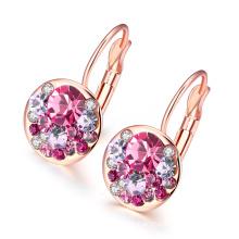 Fashion Gold Plated Crech Drill Women Earrings Rose Gold Plated Women Earrings Zinc Alloy Earrings