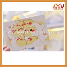 Cartão feito à mão pequeno e pequeno pássaro, cartão de aniversário, cartão de aniversário, presentes em massa baratos para crianças
