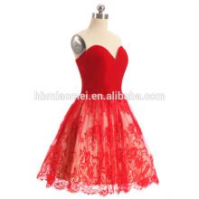 2017 alibaba couleur rouge dentelle robe de soirée plus tard épaule mini courte fermeture éclair conception robe de soirée courte